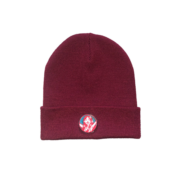 Wee Toast Burgundy Beanie Hat with Lana Badge