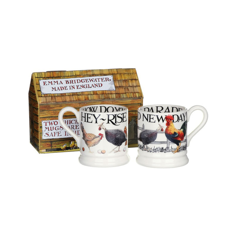 Hen and Toast Set of Two Half Pint Mugs by Emma Bridgewater