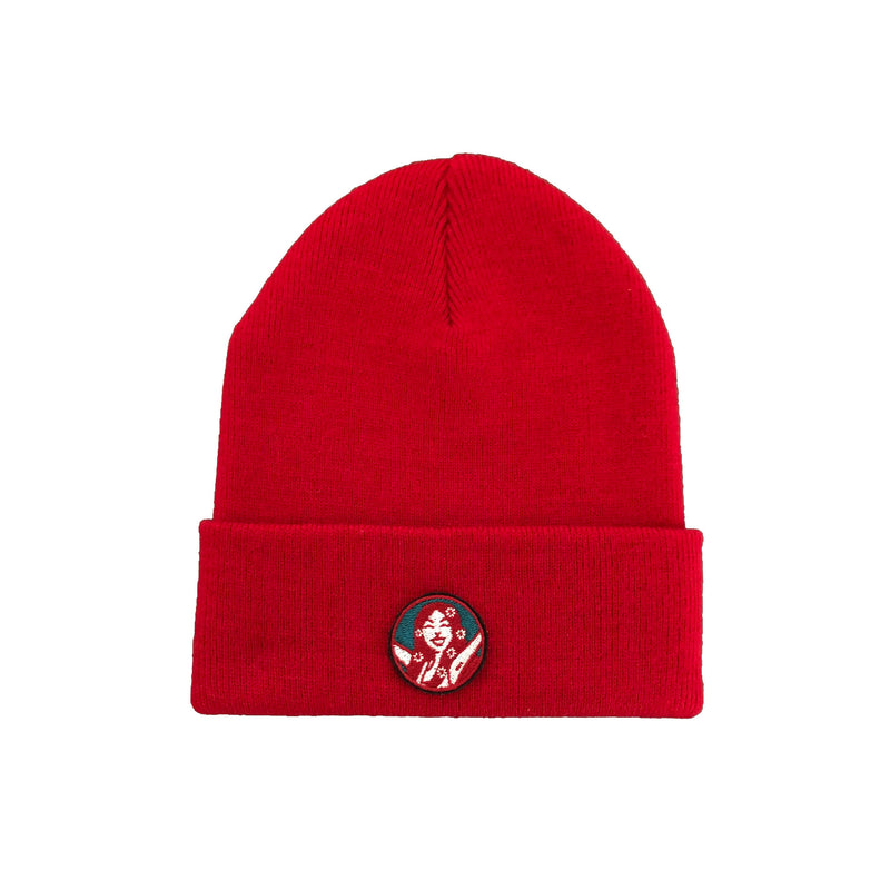 Wee Toast Red Beanie Hat with Lana Badge