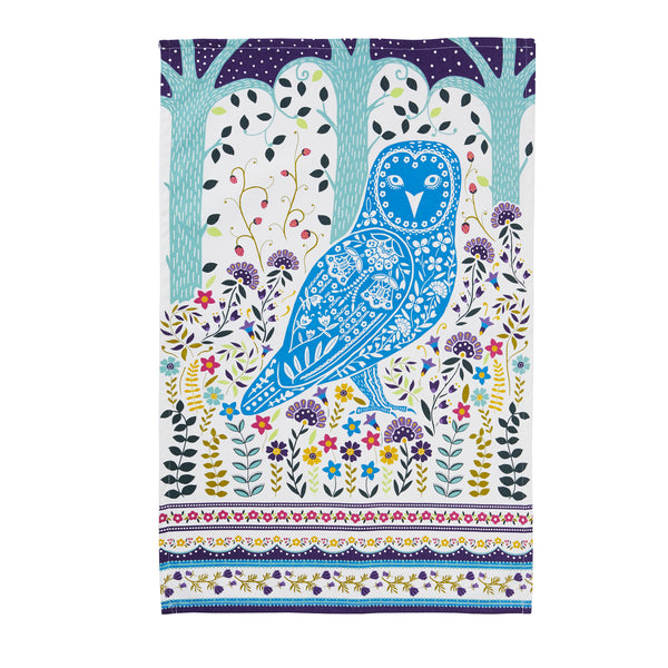 Owl Linoprint Design Tea Towel by Ulster Weavers