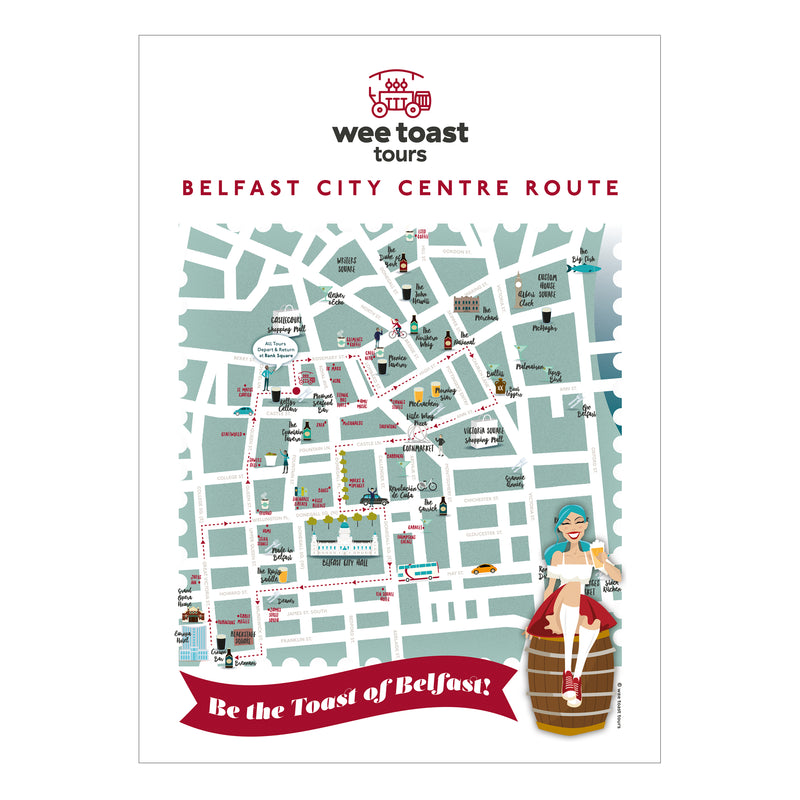 Belfast City Centre Map Art Print by Wee Toast Tours