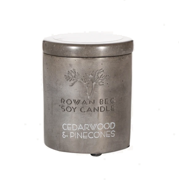 Rowan Beg Soy Candle - Cedarwood and Pinecones