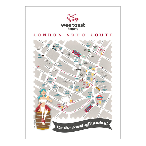 London Soho Map Art Print by Wee Toast Tours