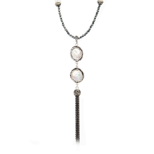Sheba Coin Pearl Long Crystal Necklace