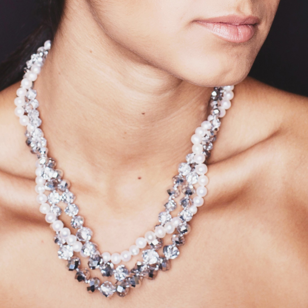Kristin Pearl and Crystal Necklace - Lucas Gadgets