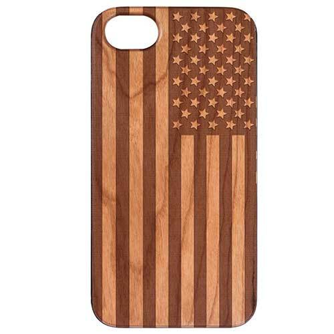 Image of Stars & Stripes USA Flag Cherry Wood Phone Case - Monochrome - Lucas Gadgets