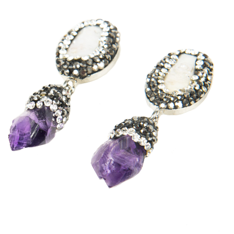 Image of Isis Amethyst and Pearl Earrings - Lucas Gadgets