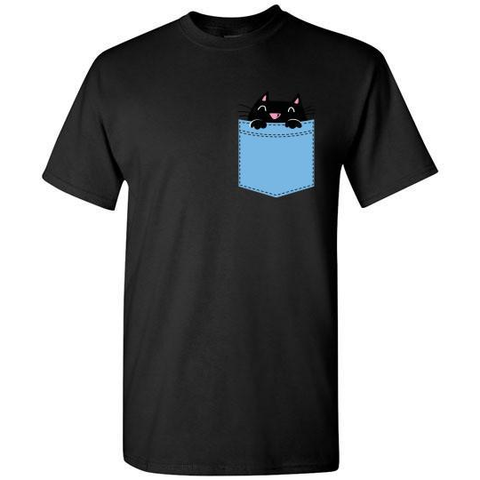 Image of Cute Pocket Kitty T-shirt - Lucas Gadgets