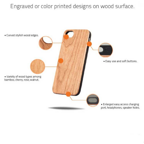 Image of Rose Design Cherry Wood Phone Case - Lucas Gadgets