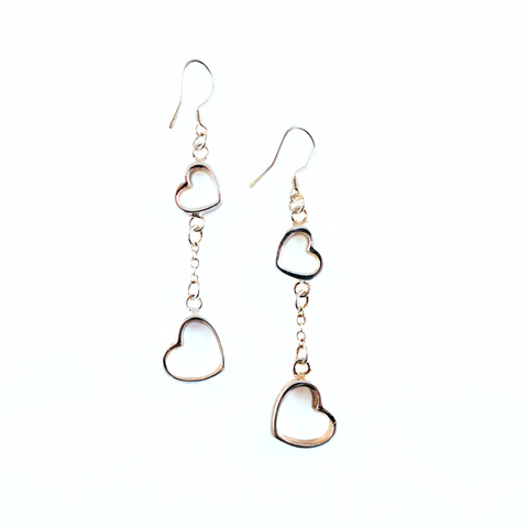 Image of Linked Hearts Sterling Silver Earrings - Lucas Gadgets