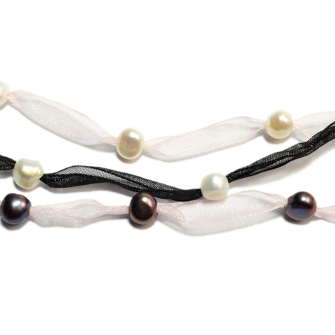 Innocence Pearl and Ribbon Necklace - Lucas Gadgets