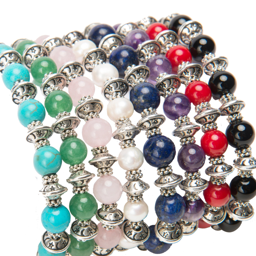 Lana Gemstone and Tibetan Silver Stacking Bracelets - Lucas Gadgets