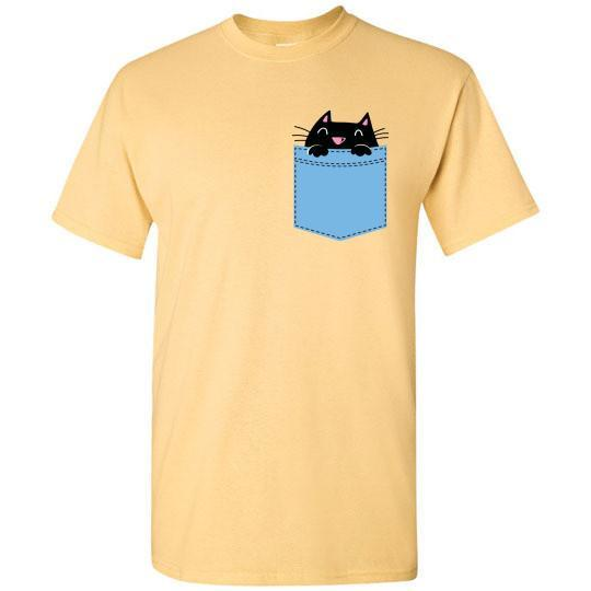 Cute Pocket Kitty T-shirt - Lucas Gadgets