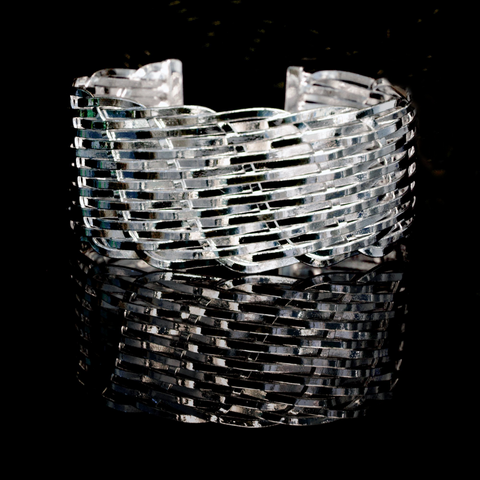 Image of Sterling Silver Basket Weave Bracelet
