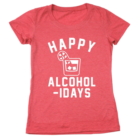 Image of Happy Alcoholidays White Women's Relaxed Fit Tri-Blend T-Shirt - Lucas Gadgets