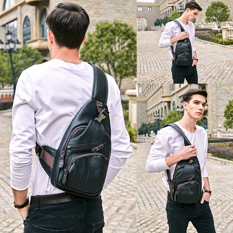 Image of Extra Large Black Leather Messenger Bag - Lucas Gadgets