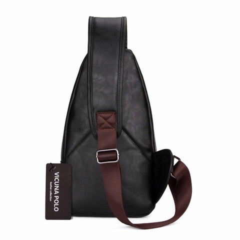 Extra Large Black Leather Messenger Bag - Lucas Gadgets