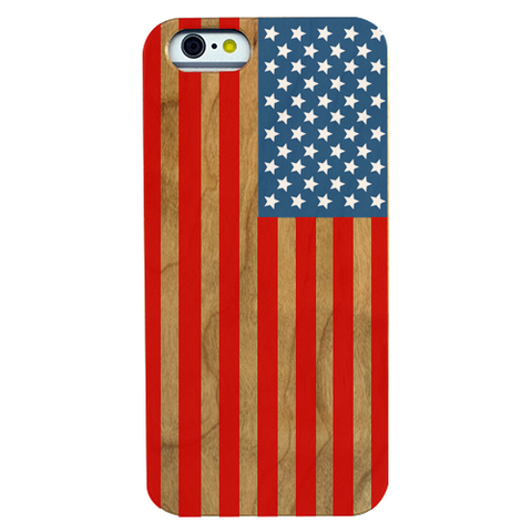 Image of Stars & Stripes USA Flag Cherry Wood Phone Case - Color - Lucas Gadgets