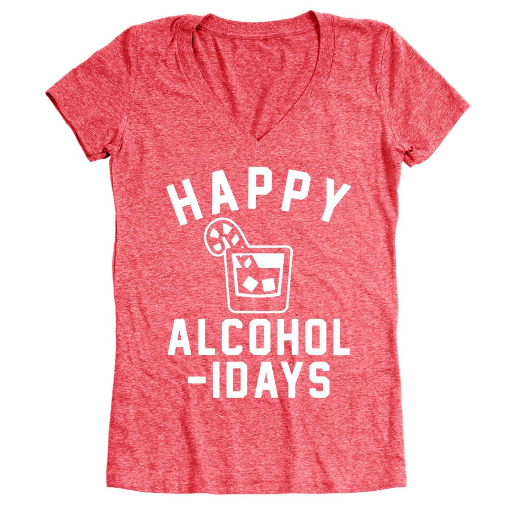 Happy Alcoholidays White Women's Relaxed Fit V-Neck Tri-Blend T-Shirt - Lucas Gadgets