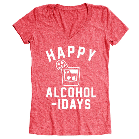 Image of Happy Alcoholidays White Women's Relaxed Fit V-Neck Tri-Blend T-Shirt - Lucas Gadgets