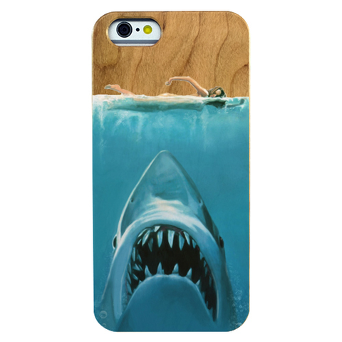 Image of Shark Attack Natural Cherry Wood Phone Case - Lucas Gadgets