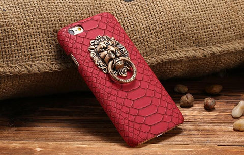 Image of Snakeskin Leather Hard Lion iPhone Case - Lucas Gadgets