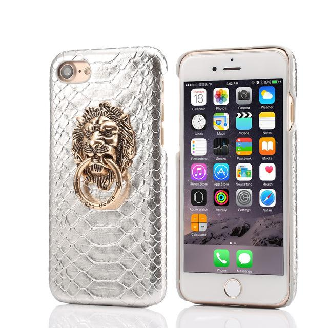 Snakeskin Leather Hard Lion iPhone Case - Lucas Gadgets