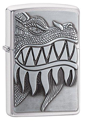 Zippo Fire Breathing Dragon Brushed Chrome Pocket Lighter - Lucas Gadgets