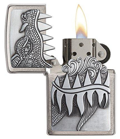 Image of Zippo Fire Breathing Dragon Brushed Chrome Pocket Lighter - Lucas Gadgets
