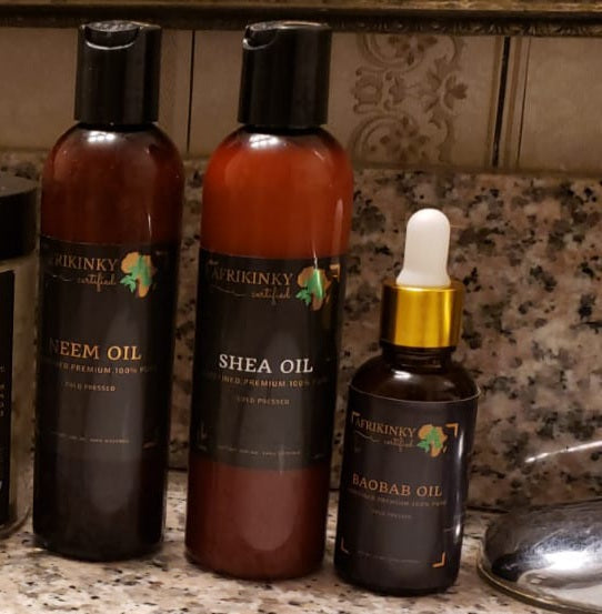 Natural Oils (Neem oil, Shea oil, and Baobab oil)