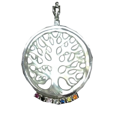Sterling Silver Tree of Life Earrings & Pendant in Mother-Of-Pearl