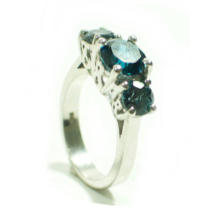 2.60ct London Blue Topaz 3 Stone Sterling Silver Ring