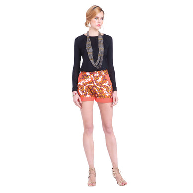 Orange Pattern African Print Shorts