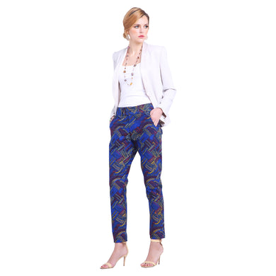 Blue African Print Slim Trousers