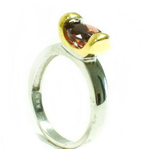 Two Tone 925 Sterling Silver 2.03ct Garnet Solitaire Ring