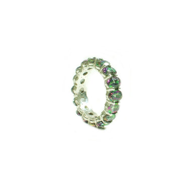 Oval Mystic Topaz Eternity Band Ring