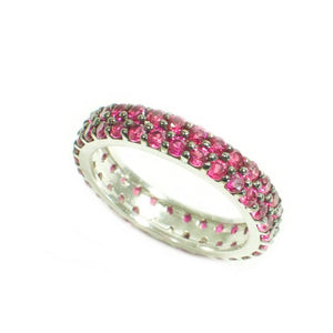 Ruby Double Row Eternity Band 925 Sterling Silver 2.50ct