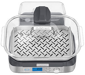 Alternate view of the Cuisinart CookFresh Digital Glass Steamer, showing its Glass Lid with Stainless Steel Rim, Reversible Stainless Steel Steaming Tray, Large 5L Glass Steaming Pot, and Removable 1-Liter Water Reservoir, all in place