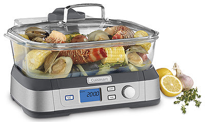CookFresh Digital Glass Steamer in use, showing various foods being cooked at once