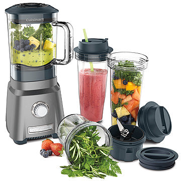 Photo of a Cuisinart Hurricane Compact Blender in use showing various types of fruits, vegetables or smoothies in its different containers
