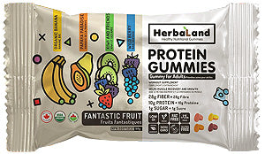 Alternative packaging for the 50 g Bag of Protein Gummies, Fantastic Fruit flavour