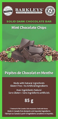 85 g size of Solid Dark Chocolate Bar - Mint Chocolate Chip