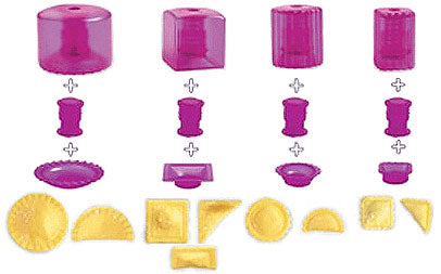 Combination of parts of Mastrad Mini Pies and Ravioli Kit to produce the different shapes of pastry