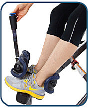 Close-up of Deluxe EZ-Reach Ankle System with extra long handle, wrap-around ankle cups, and foot platform which dials up or down