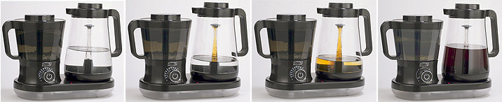 4-panel photo of Dash Cold Brew System, showing how pump action first transfers pure water from carafe to the grounds container, where it circulates and causes grounds to rise up; and then the coffee-bearing water begins to transfer back from left-hand container stem in middle of carafe; and gradually dribbles out the stem top, refilling the carafe; until its contents become quite a lot darker with concentrated cold-brewed coffee, as grounds descend in left-hand chamber