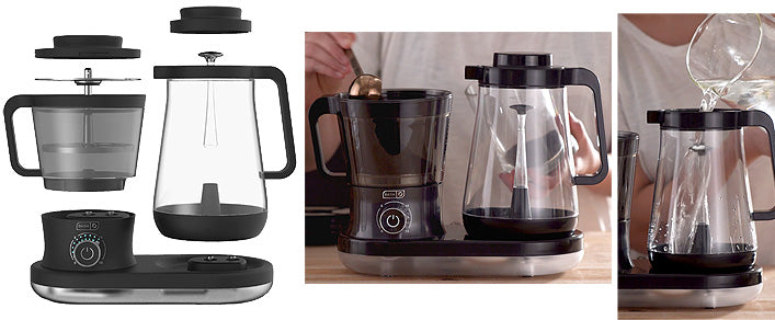 3-panel photo of Dash Cold Brew System, showing various parts; and how to scoop coffee grounds into left-hand chamber; and how to pour cold water into empty carafe on right