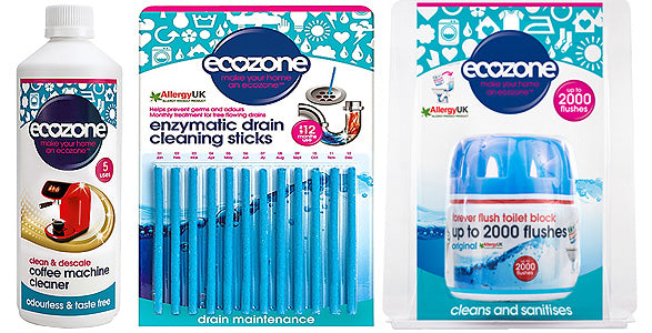 Ecozone Coffee Machine Cleaner, Enzymatic Drain Cleaning Sticks, and Forever Flush 2000