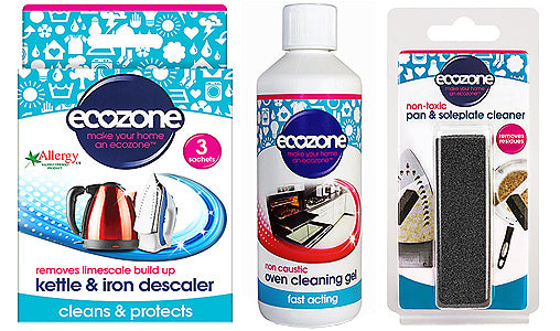 Ecozone Kettle & Iron Descaler, Oven Cleaning Gel, and Pan & Soleplate Cleaner
