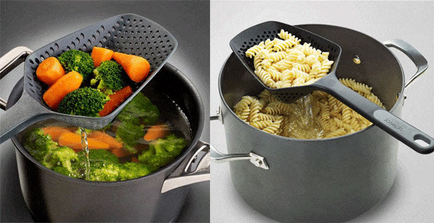 Grey and Black Scoop colanders draining vegetables and pasta