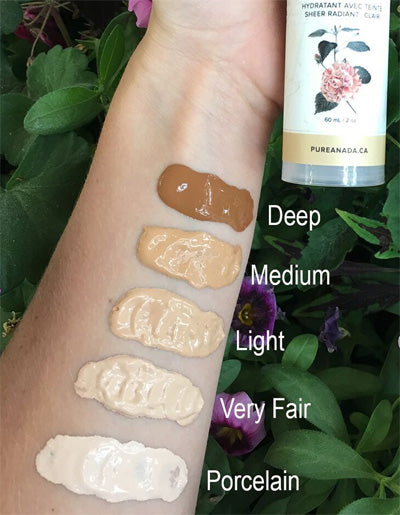 Swatches of the 5 Shades of Pure Anada Tinted Moisturizer on an arm